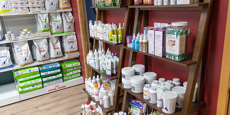 Pet care products for sale at Animal Care Clinc